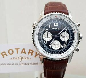 NEW ROTARY Mens Watch Brown Leather Luminous Chronograph