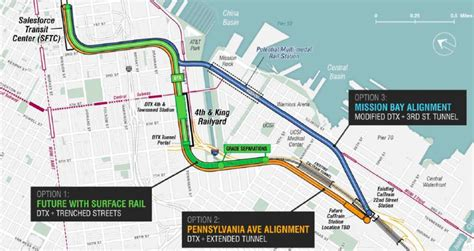 Caltrain extension path to Transbay Terminal selected