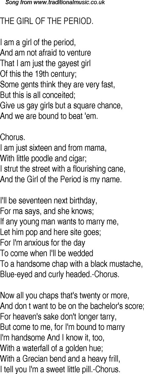 Old Time Song Lyrics for 23 The Girl Of The Period