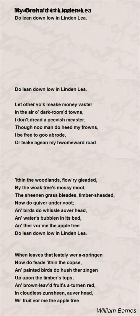 My Orcha'D In Linden Lea Poem by William Barnes - Poem Hunter
