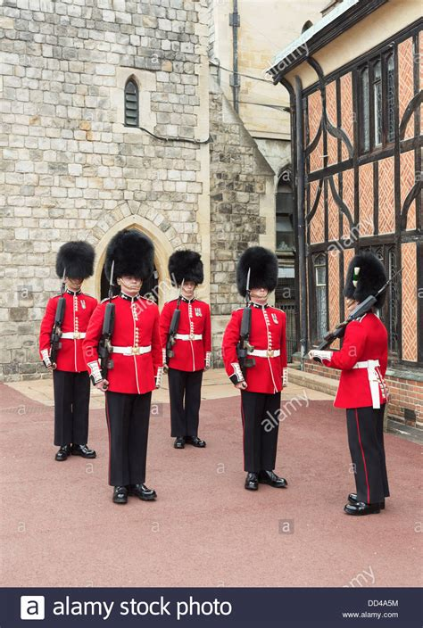 Soldiers in Queen's Guard at Windsor Castle, England, with
