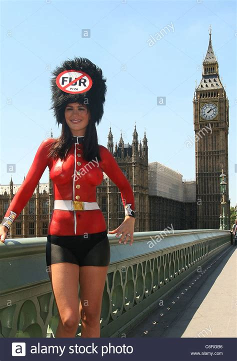 Lucy Clarkson, wearing a painted-on Queen's Guards