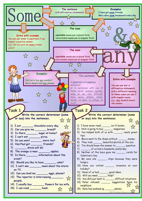 SOME & ANY & NO * grammar * 5 tasks * 2 pages * with key
