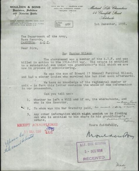 1958 Murray Wilson-Moulden letter to Army   Shep's Place